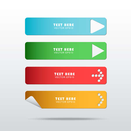 long play: Set of web long button. Simple option banners with different arrows shape.