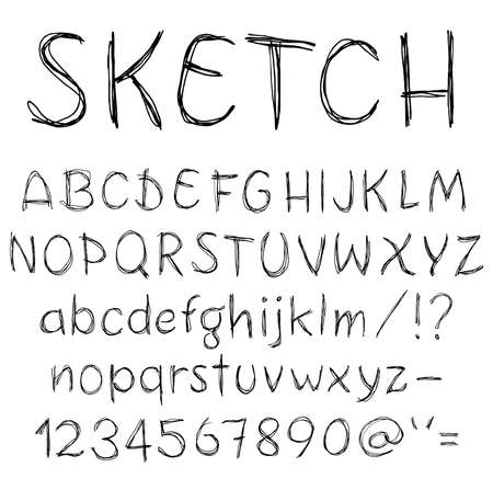 Hand drawn sketch alphabet. photo