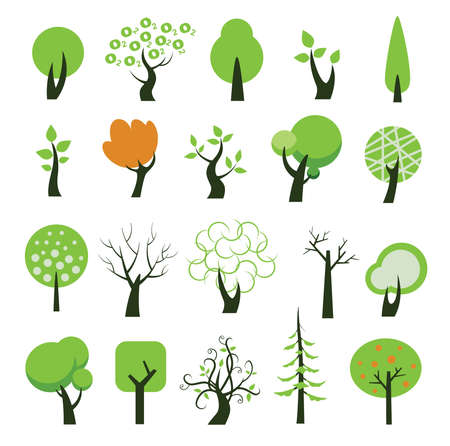 pine boughs: Set of tree icons. Vector illustration.