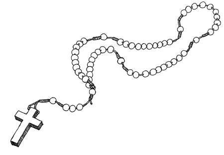 różaniec: Hand wyciągnąć koronkę. Ilustracji wektorowych.