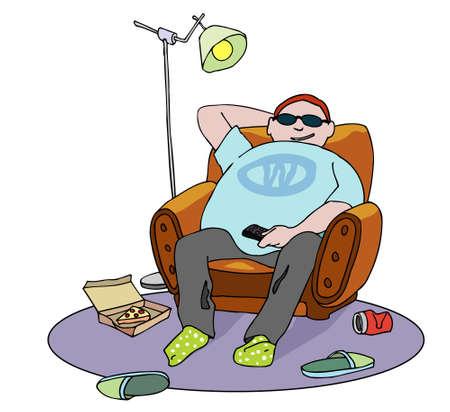 sedentario: Chico gordo feliz en el sillón. Beba y la pizza por el suelo. Dibujos animados teleadicto. Ilustración del vector.