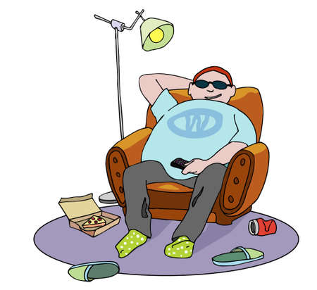 Happy overweight guy on armchair. Drink and pizza over the floor. Couch potato cartoon. Vector illustration.