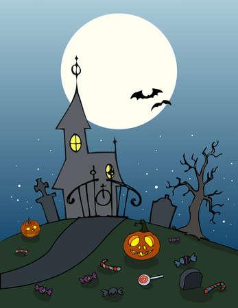 haunting: Mansion entrance background. Haunting halloween scenario. Spooky full moon night illustration. Vector.