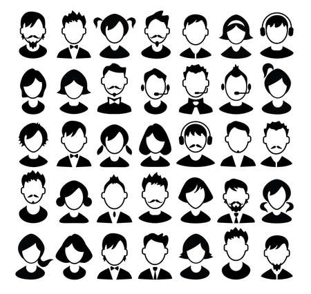 male face profile: Set of boys and girls avatars and operator icons. Vector illustration.