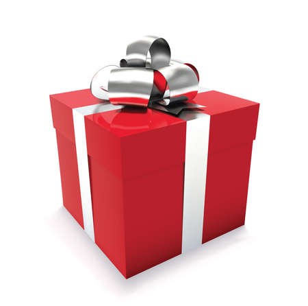 Red gift box isolated on white background. Vector illustration.
