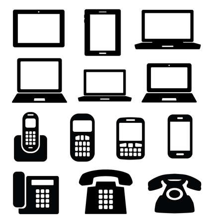 laptop vector: Set of gadget icons. Telephone, mobile phone, tablet, laptop. Vector illustration. Illustration