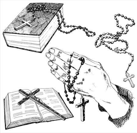 różaniec: Ręcznie rysowane christian znaki. Ilustracji wektorowych.