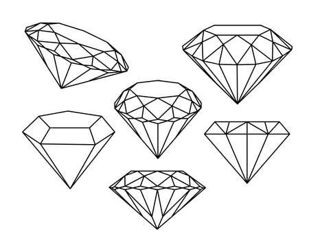 stylized: Set of diamonds icons. Vector illustration.