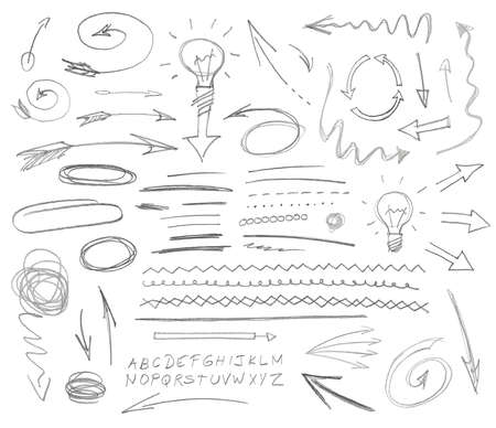 corrections: Set of graphic signs. Pencil. Vector illustration.