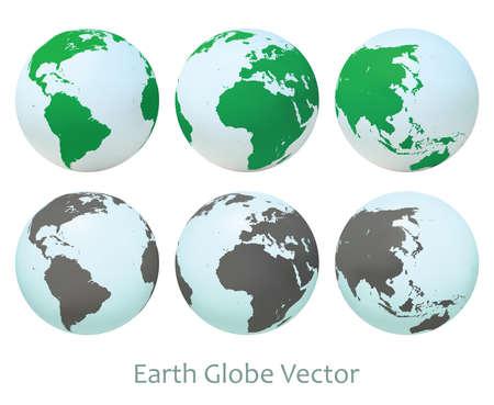 Earth globe set. Vector illustration. Vector