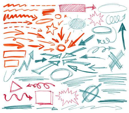 garabatos: Conjunto de signos gr�ficos dibujados a mano. Ilustraci�n del vector.