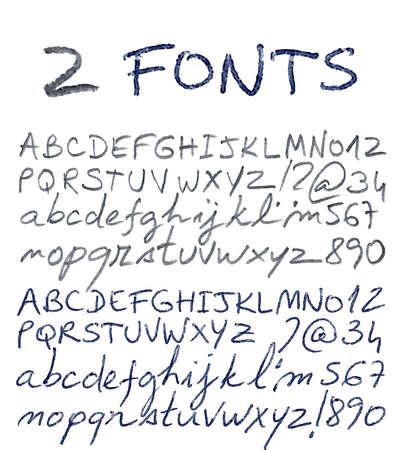 Hand drawn alphabet set. Pencil and pen texture handwriting font. Vector illustration.