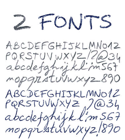 Hand drawn alphabet set. Pencil and pen texture handwriting font. Vector illustration.