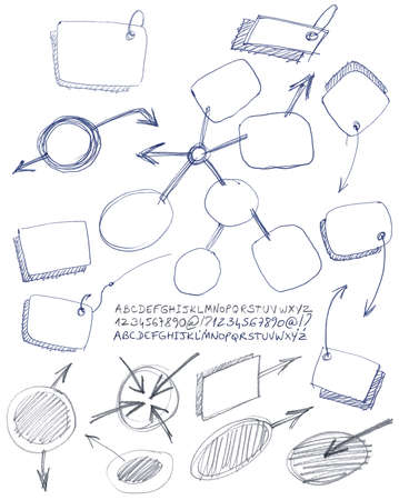 Set of hand drawn notes and alphabet. Vector