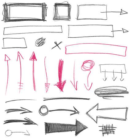 grafito: Conjunto de signos gráficos dibujados a mano. Textura del lápiz. Ilustración del vector. Vectores