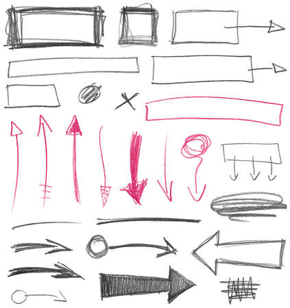 Set of hand drawn graphic signs. Pencil texture. Vector illustration. Vector