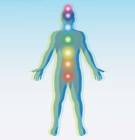 corpo umano: Chakra umano punti mappa. Illustrazione vettoriale.