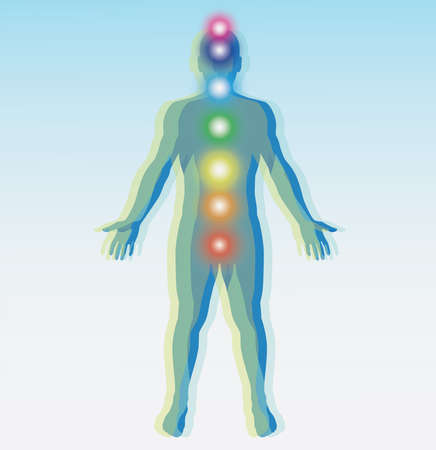 Human chakra points map. Vector illustration. Stock Illustratie