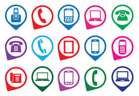 gadget: Set of colorful gadget icons. Vector illustration.