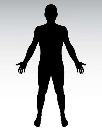 legs open: Human silhouette. Illustration