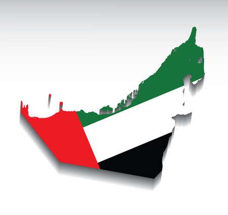 アラブ首長国連邦国旗色の地図。ベクトルの図。  イラスト・ベクター素材