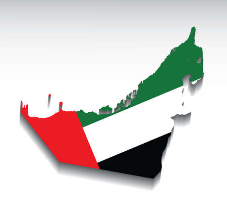 emirates: Map of the United Arab Emirates with flag colors. Vector illustration.