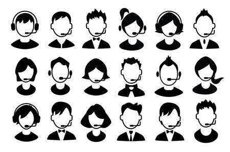 Set of boys and girls operator icons. Vector illustration Çizim