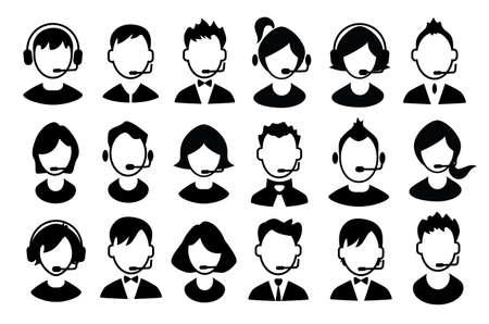 Set van jongens en meisjes operator iconen. Vector illustratie