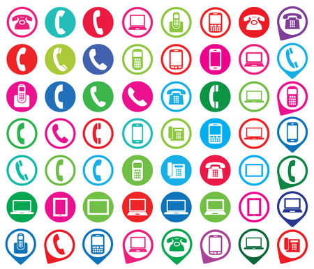 Set of colorful gadget icons. Telephone, mobile phone, tablet, laptop. Vector illustration. Vector