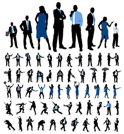 empujando: Conjunto de siluetas de personas de negocios. Mujeres y hombres poses diferentes aislados en blanco. Ilustración del vector.