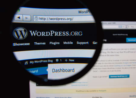wordpress: LISBON, PORTUGAL - FEBRUARY 5, 2014: Photo of WordPress.org homepage on a monitor screen through a magnifying glass. Editorial