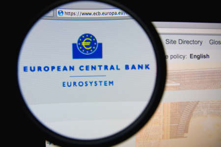 central bank: LISBON, PORTUGAL - FEBRUARY 21, 2014: The European Central Bank homepage through a magnifying glass.