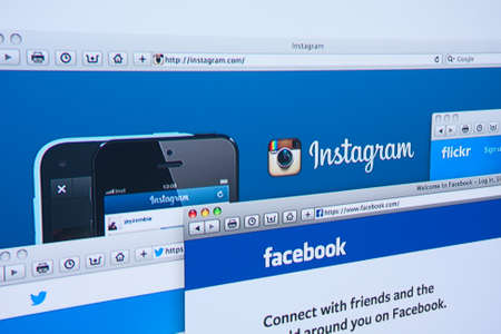 flickr: LISBON, PORTUGAL - JUNE 4, 2014: Photo of Instagram, Facebook, Twitter, Flickr homepage on a monitor screen.
