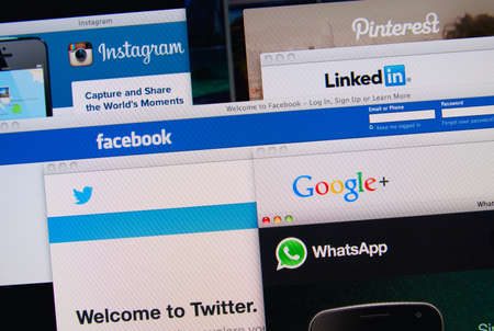 LISBON, PORTUGAL - MARCH 13, 2014: Photo of Pinterest, Twitter, Facebook, Google+, Linkedin, Whatsapp and Instagram homepage on a monitor screen.