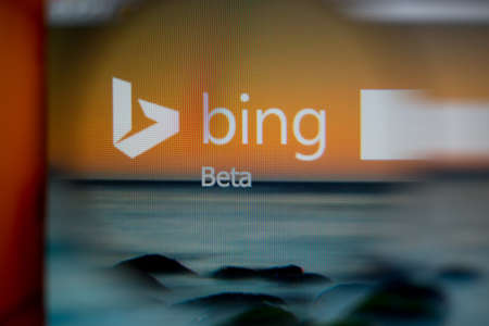 msn: LISBON, PORTUGAL - AUGUST 27, 2014: Photo of BING on a monitor screen through a magnifying glass. Editorial