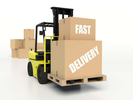forklift truck: Forklift truck carrying boxes with Fast Delivery inscription.