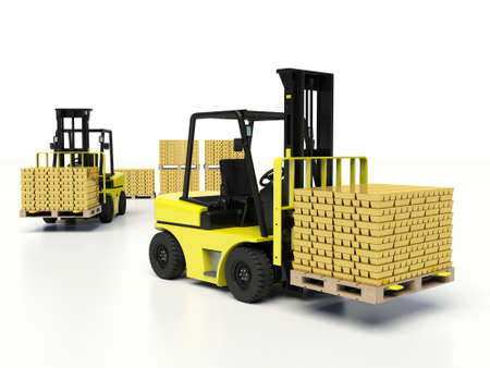 gold bars: Forklift truck carrying gold bars. Stock Photo