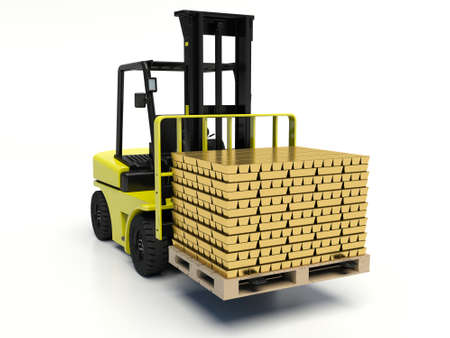 carrying: Forklift truck carrying gold bars. Stock Photo