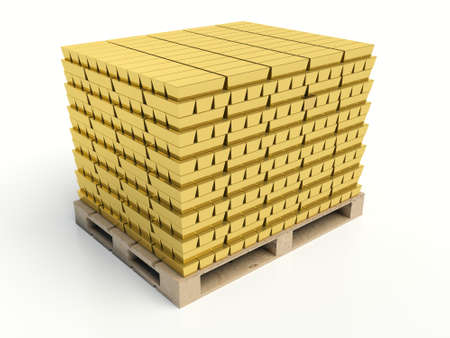 federal reserve: Gold bars pile on white background. Gold reserves concept. Stock Photo