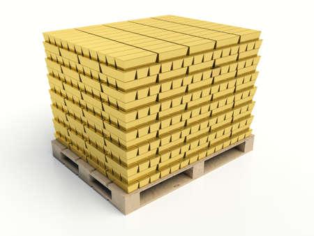 reserves: Gold bars pile on white background. Gold reserves concept. Stock Photo
