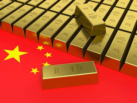china business: Gold bars on top of a china flag.
