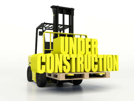 carrying: Forklift truck carrying under construction words. Stock Photo