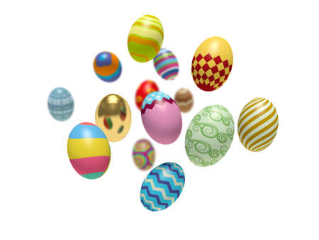 many coloured: Colorful Easter eggs. 3d render illustration.