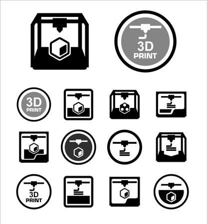 impresion: 3D icono de impresión conjunto Vectores
