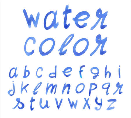 watercolor technique: Handwritten blue font. Watercolor technique.  Illustration
