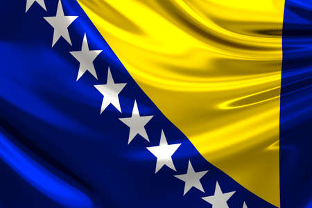 anthem: Flag of Bosnia and Herzegovina. Stock Photo