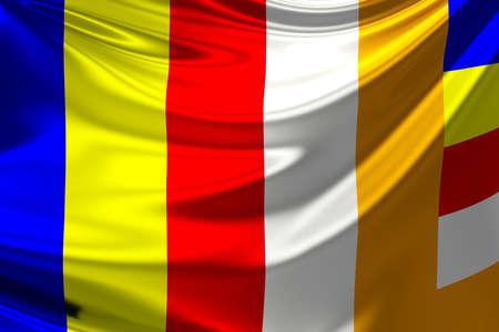 The Buddhist flag. photo