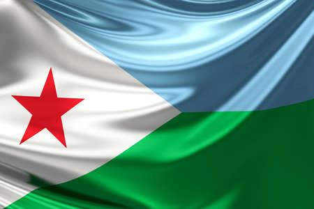 djibouti: Flag of Djibouti. Stock Photo
