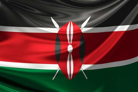 kenya: Flag of Kenya. Stock Photo