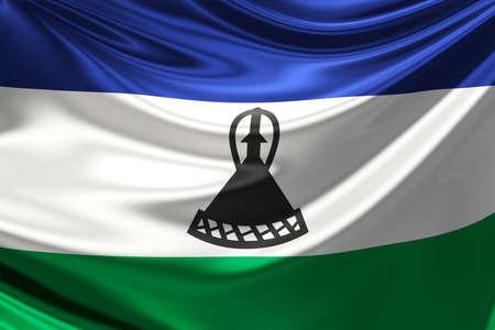 LESOTHO: Flag of Lesotho.